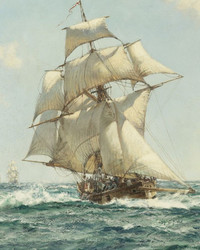 Montague Dawson - British Frigate full sail