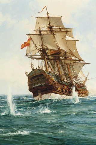 Free Montague Dawson - Spanish Treasure Galleon phone wallpaper by epictones