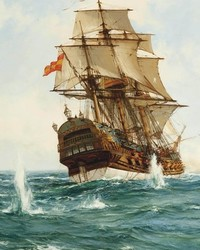 Montague Dawson - Spanish Treasure Galleon