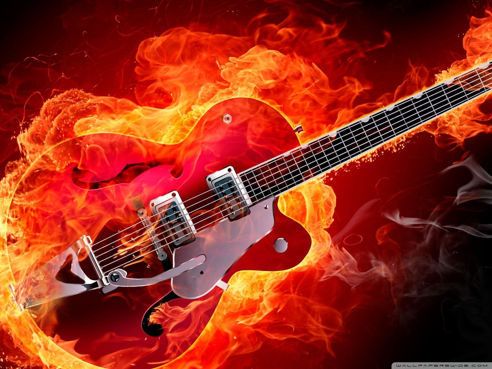 Free Rockabilly Electric Guitar on Fire phone wallpaper by gjlovers