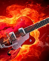 Rockabilly Electric Guitar on Fire