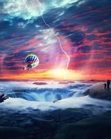Heaven Sunset Sea Airballons