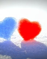 Blue Red Snow Hearts