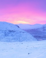 Pink Sunrise, Snowy Mountains, Winter
