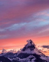 Mountains, Fog, Sunset, Clouds