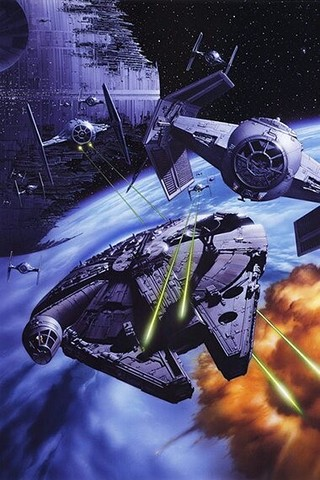 Free Millennium Falcon+Death Star-Tsuneo Sanda phone wallpaper by epictones