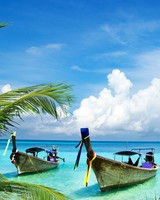 Long Tail Boats, Tropical Beach, Palm Trees