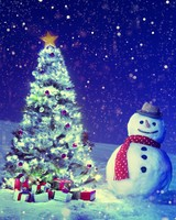 Christmas Tree, Snowman, Winter