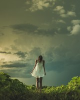 Girl, Field, Storm Clouds