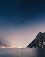 Mountains, Night, Sea