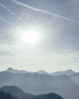 Mountains, Fog, Sky