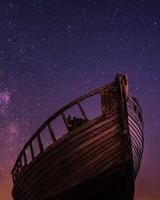 Boat, starry sky