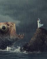 Woman Fish Rain
