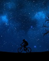 Cyclist Silhouette, Starry sky