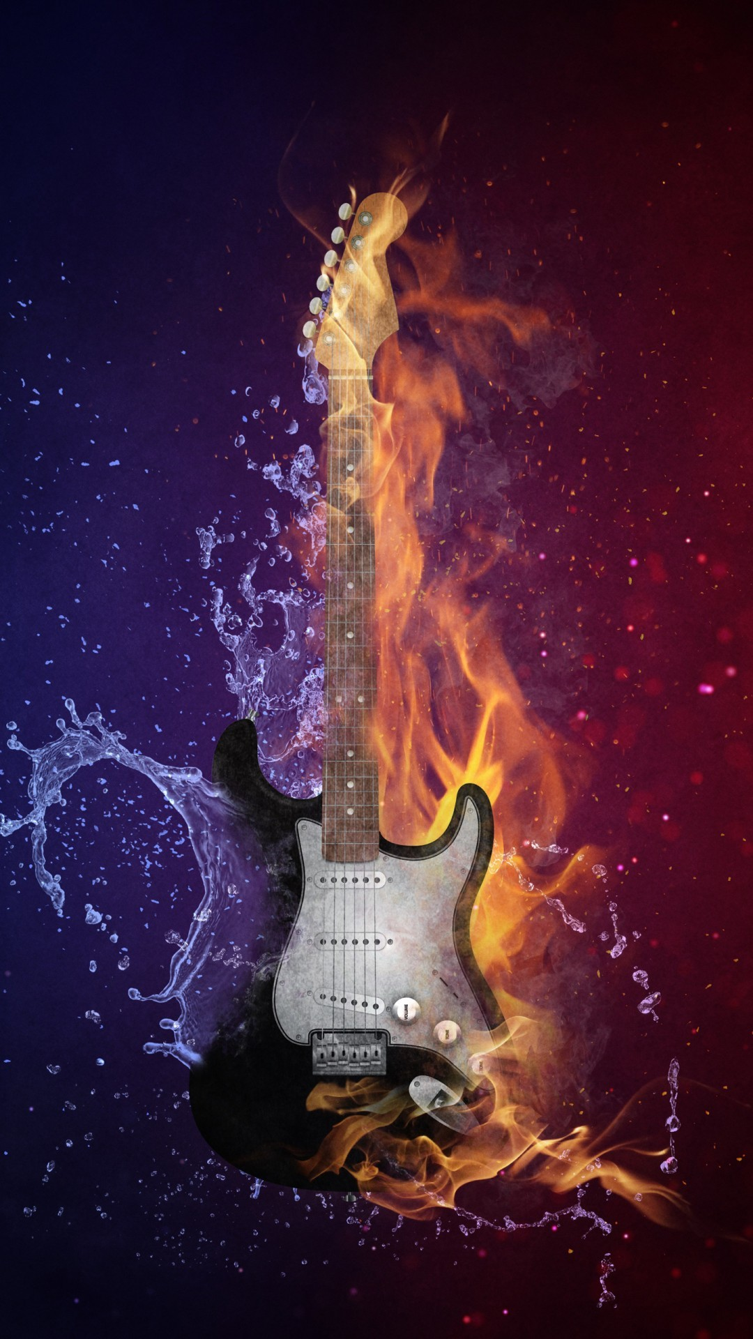 Free Guitar Fire & Cold phone wallpaper by iconn