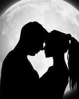 Couple, Silhouettes, Moon, Love