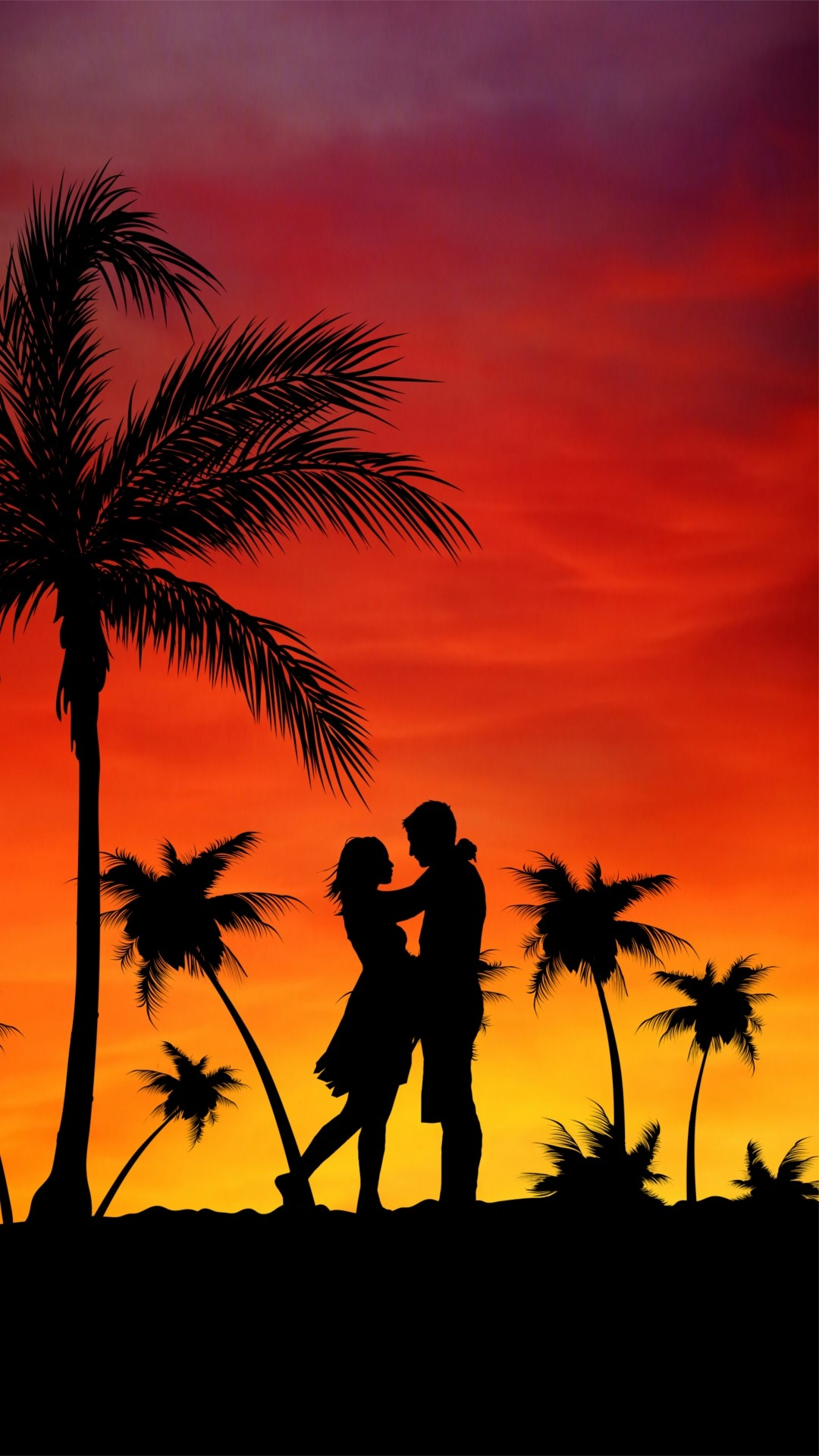 Free Couple, Love, Palms, Sunset phone wallpaper by jaderockzz