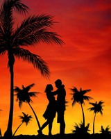 Couple, Love, Palms, Sunset
