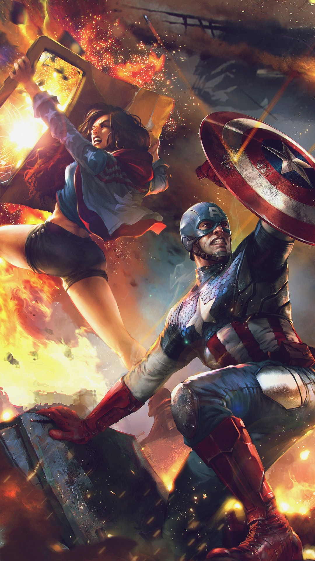 Free America Chavez and Captain America Artwork phone wallpaper by rosiiboo