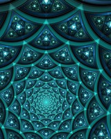 Teal Fractal Digital Art