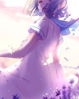 Anime Girl Lavender Purple Flowers