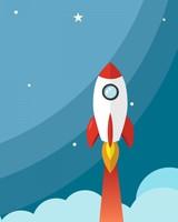 Rocket to Moon Minimal Artwork