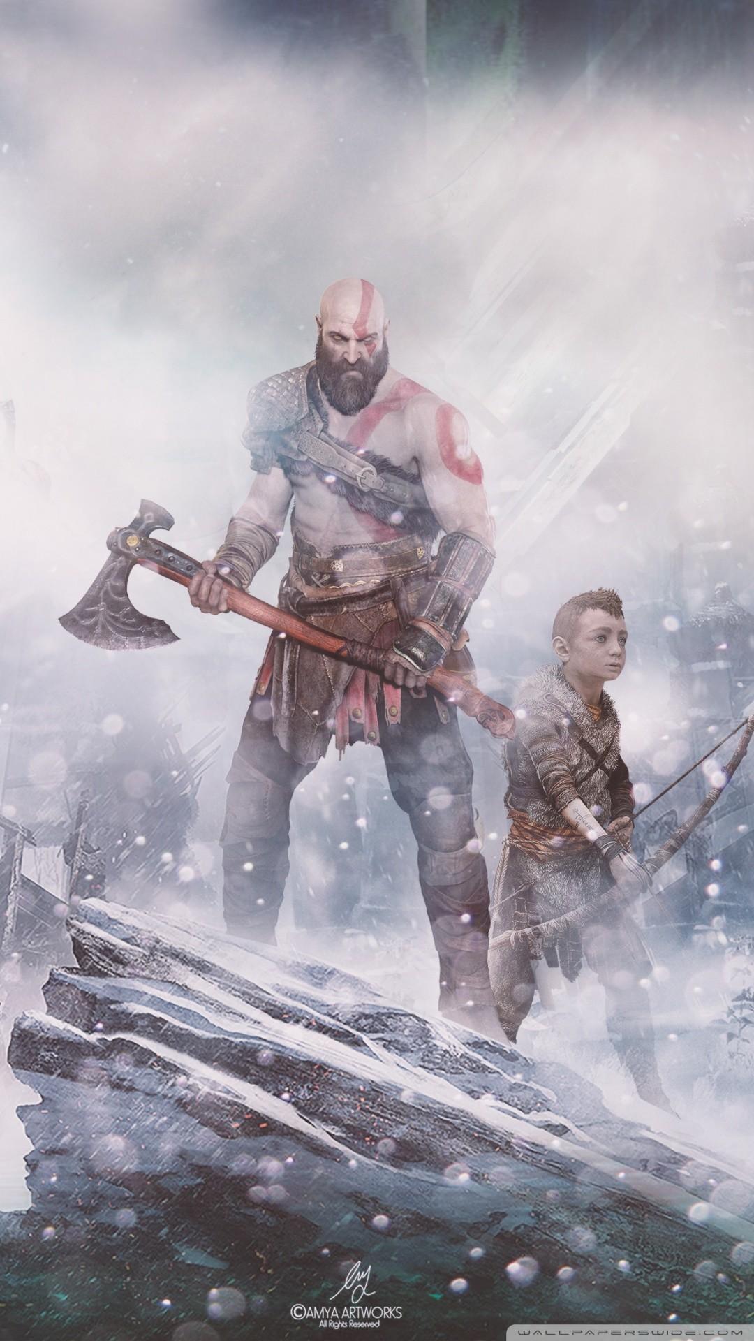 Free God of War (PS4) Norse mythology phone wallpaper by vorer