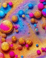 Colorful Paint, Glitter, Bubbles, Macro