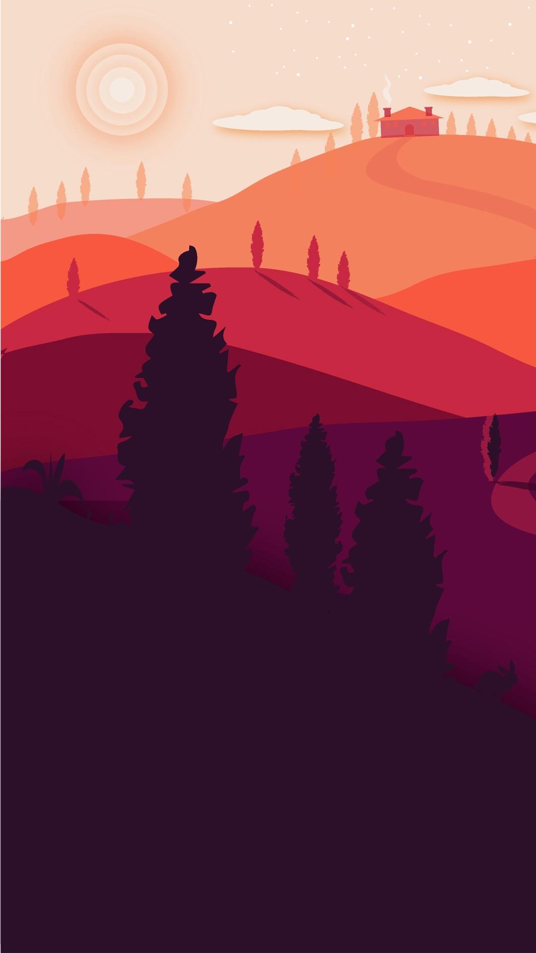 Free Summer Landscape Minimal phone wallpaper by lelenuvens