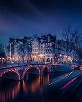 Amsterdam Night Cityscape