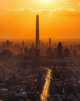 City, sunset, skyscrapers, tianjin, china