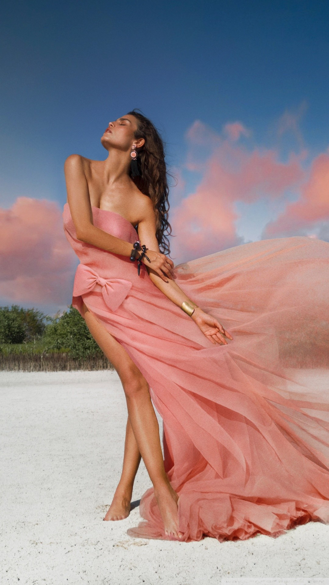 Free A Woman in a Light Pink Dress, Pink Clouds phone wallpaper by teresa80