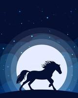 Horse Silhouette Moon Minimal