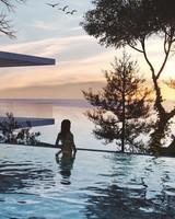 Summer, Sunset, Girl, Pool