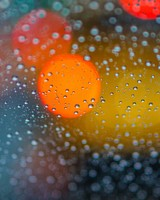 Bokeh Rain Drops on Glass