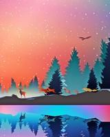 Winter, animals, art, vector, forest, reflection
