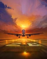 Plane, runway, art, sunset, sky
