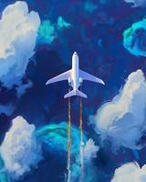 Plane, sky, art, flight, clouds
