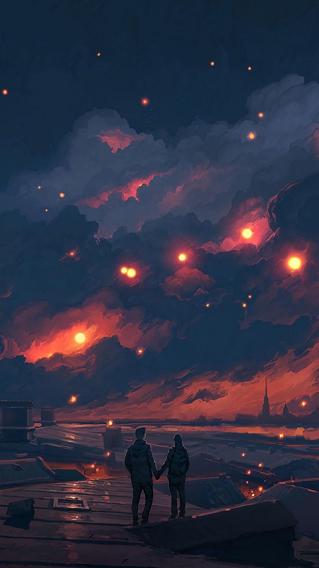 Free Couple, night, art, clouds, romance, love phone wallpaper by davisd64