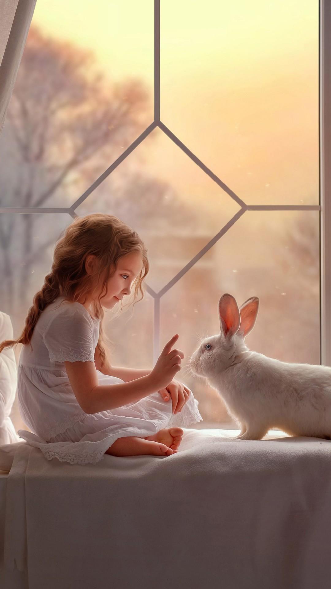 Free Cute girl and Rabbit phone wallpaper by rashad23a