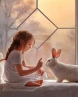 Cute girl and Rabbit