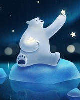Cute Polar Bear Playing with Stars