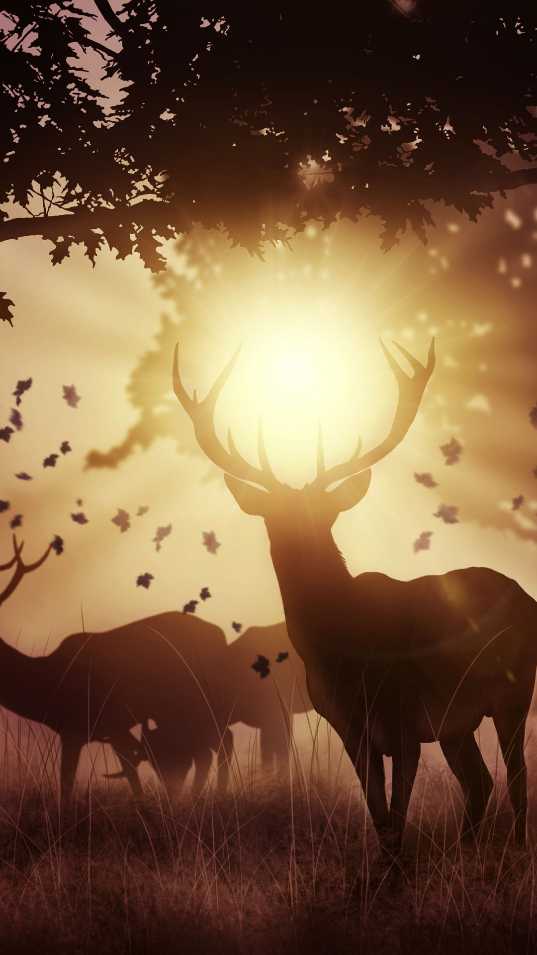 Free Sunset Deers phone wallpaper by natasha16