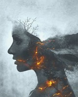 Girl on Fire Monochrome