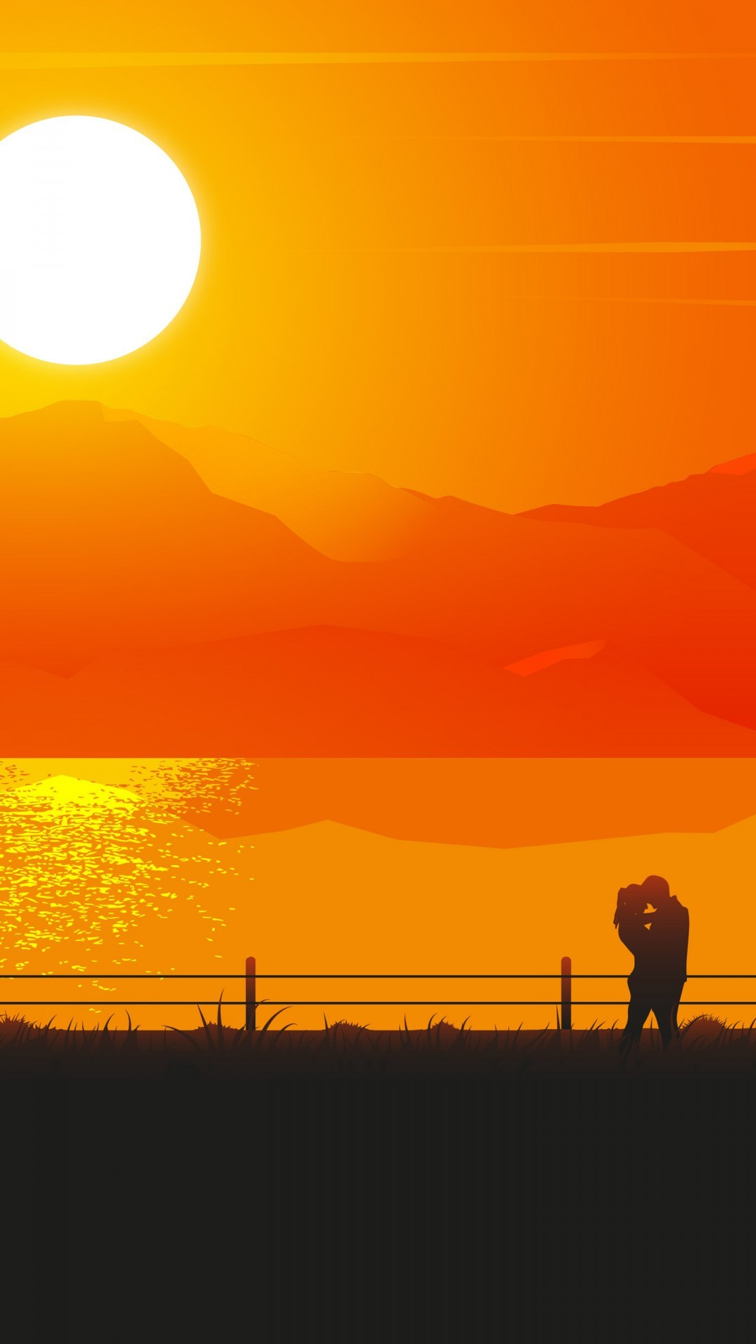 Free Romantic Couple Sunset Silhouette phone wallpaper by shadow87