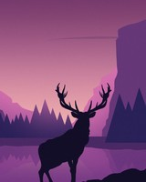 Deer, mountains, landscape