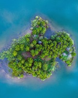 Tiny Island, Blue Water Aerial View Photography
