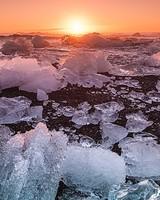 Diamond Beach Iceland Sunset