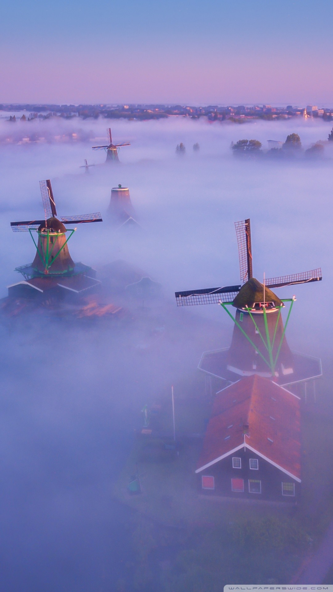 Free Netherlands Traditional Windmills Fog phone wallpaper by almaeq