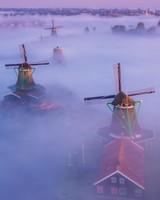 Netherlands Traditional Windmills Fog